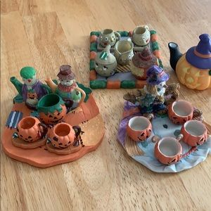 4 Miniature Halloween Tea Sets